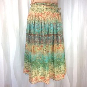 David Meister Boho Skirt 12 Cotton Aqua Coral